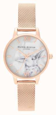 Olivia Burton |女士|插图动物|兔子|玫瑰金网| OB16WL85