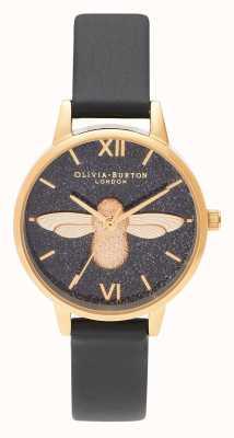 Olivia Burton |女士|闪光表盘3d蜜蜂|黑色皮革表带| OB16GD48