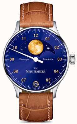 MeisterSinger Lunascope |蓝色表盘|棕色皮革表带 LS908G