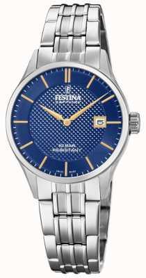 Festina |女士瑞士制造|不锈钢手链|蓝色表盘 F20006/3