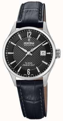 Festina |女士瑞士制造|黑色皮革表带|黑色表盘| F20009/4