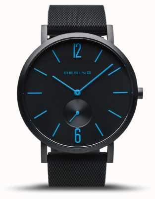 Bering |真正的极光|黑色橡胶表带|黑色表盘|蓝手 16940-499