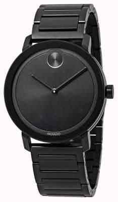 Movado |粗体|黑色不锈钢手链|黑色表盘| 3600538