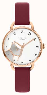 Radley |女人的木头街| merlot皮革表带|白狗表盘 RY2874