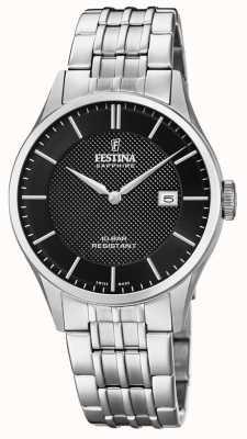 Festina  男士瑞士制造 不锈钢手链 黑色表盘 F20005/4