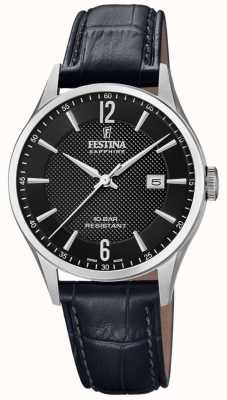 Festina  男士瑞士制造 黑色皮革表带 黑色表盘  F20007/4