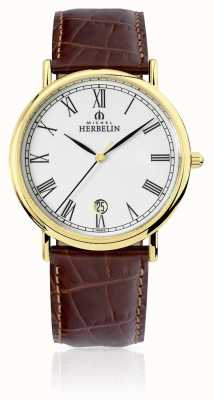 Michel Herbelin 男士经典|棕色皮革表带 12248/P01MA