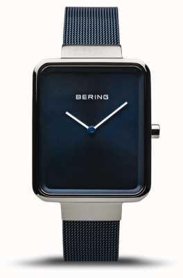 Bering 经典款抛光/拉丝银|蓝色网眼表带| 14528-307