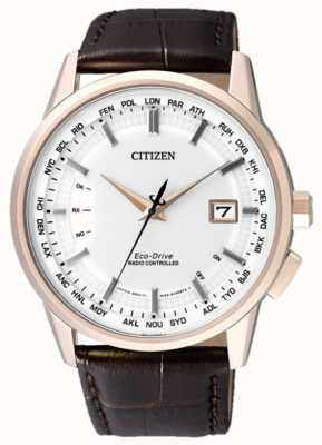 Citizen 永久遥控棕色表带|白色表盘 CB0153-21A