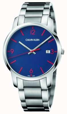 Calvin Klein 男士城市|不锈钢手链|蓝色表盘 K2G2G147
