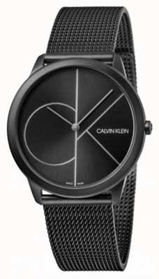 Calvin Klein |最小黑色钢网手链|黑色表盘 K3M5145X