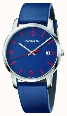 Calvin Klein |男士城市|蓝色皮革表带|蓝色表盘| K2G2G1VX