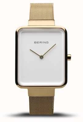 Bering 女装经典|抛光/拉丝金网|白色表盘| 14528-334