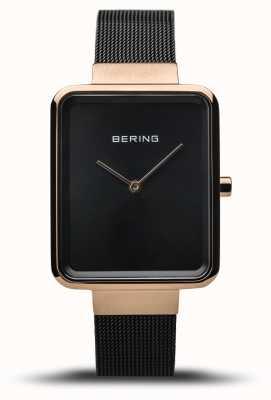 Bering |女装经典|抛光黑色网眼|黑色表盘| 14528-166