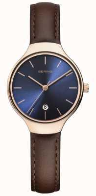 Bering |女装经典|棕色皮革表带|蓝色表盘| 13328-567