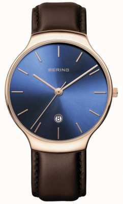 Bering |女装经典|棕色皮革表带|蓝色表盘| 13338-567