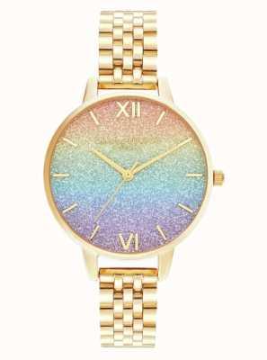 Olivia Burton |彩虹闪光表盘|金手链| OB16RB23