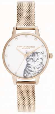Olivia Burton 珍珠插图小猫玫瑰金网 OB16WL88