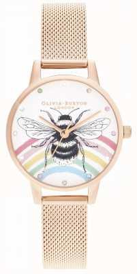 Olivia Burton 插图彩虹蜜蜂,玫瑰金网 OB16WL90