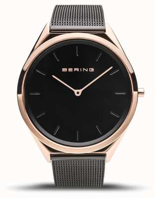 Bering |男女通用超薄|黑色网眼手链| 17039-166