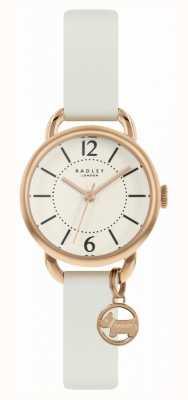 Radley |妇女的白色皮革表带|香槟色表盘| RY2984