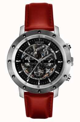 Weird Ape Icarus 3盘黑色,银色和红色皮革骨架手表 WA02-005722