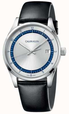 Calvin Klein |完成|黑色皮革表带|银色/蓝色表盘| KAM211C6