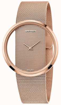 Calvin Klein |华丽玫瑰金pvd镀金网状手链|玫瑰金表盘 K942362A