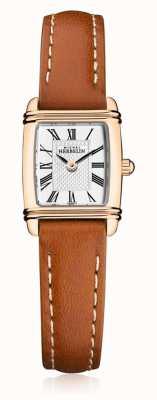 Michel Herbelin |女式棕色皮革表带|银色矩形表盘| 17438/PR08GO