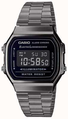 Casio |年份|银色不锈钢手链|黑色表盘| A168WEGG-1BEF