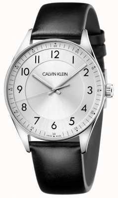 Calvin Klein |明亮黑色皮革表带|银色表盘 KBH211C6