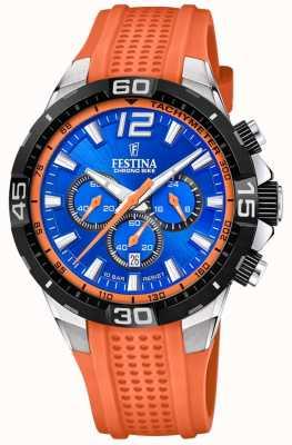 Festina 计时自行车2020蓝色表盘橙色表带 F20523/6