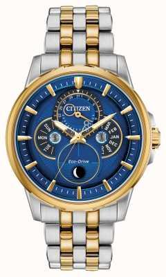 Citizen |男装生态驱动器|月相|蓝色表盘 BU0054-52L