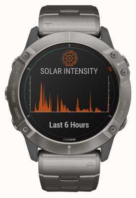 Garmin Fenix 6x pro太阳能 钛手链和橙色表带 010-02157-24