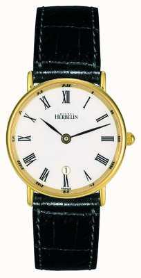 Michel Herbelin 女士黑色皮革表带|白色表盘|金盒 16845/P01