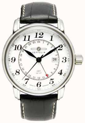 Zeppelin LZ 127跨大西洋格林尼治标准时间|黑色皮革表带|白色表盘 7642-1