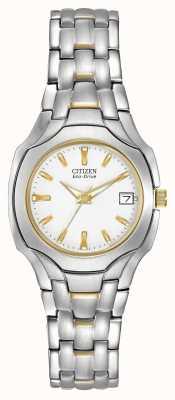 Citizen 女式双色调搭配白色表盘生态驱动 EW1254-53A