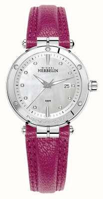 Michel Herbelin Newport镶钻表盘紫红色皮革表带 14288/AP89FU