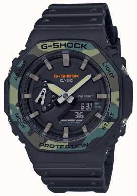 Casio G-shock |分层表圈|黑色橡胶表带|碳盒 GA-2100SU-1AER