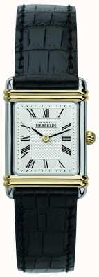 Michel Herbelin 女士装饰艺术|黑色皮革表带|银色表盘 17478/T08