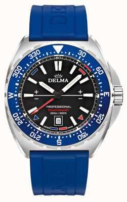 Delma Oceanmaster石英|蓝色橡胶表带|黑色表盘 41501.676.6.048