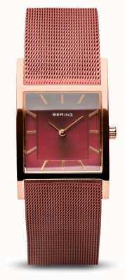Bering 女装经典|抛光玫瑰金|红色网眼手链 10426-363-S