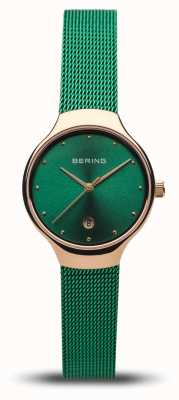 Bering 女装经典|绿色网眼带|抛光玫瑰金 13326-868