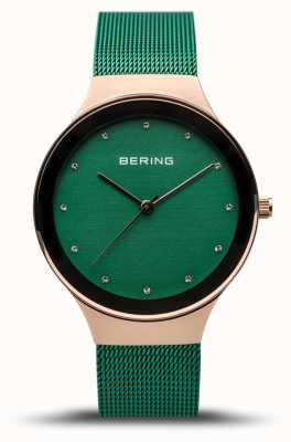 Bering 女装经典|抛光玫瑰金|绿色网眼带| 12934-868