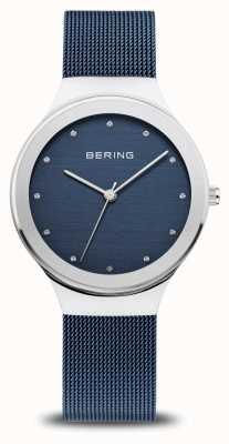 Bering 女装经典|抛光银|蓝色网眼带 12934-307