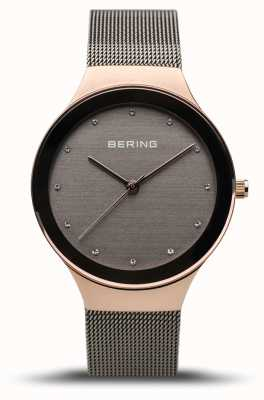 Bering 女装经典|抛光玫瑰金|灰色网眼表带 12934-369