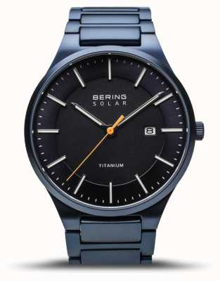 Bering 男士钛|太阳能|拉丝蓝色|蓝色钛金属表带 15239-797