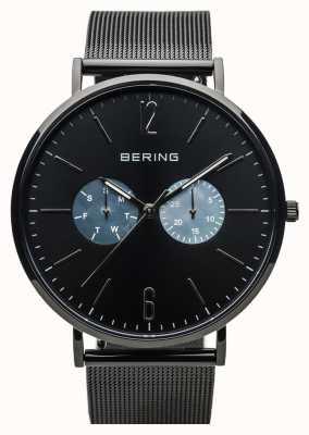 Bering 男女皆宜的经典|抛光黑|黑色网眼表带 14240-123