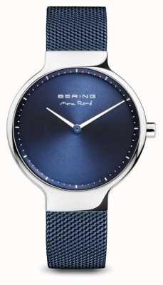 Bering Maxrené|抛光银|蓝色网眼带 15531-307