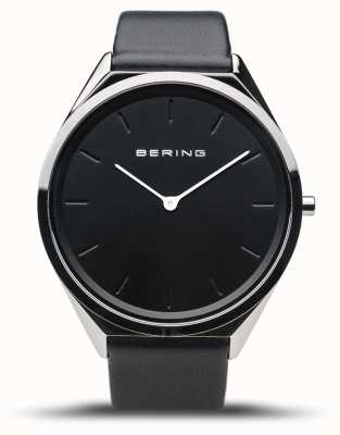 Bering 超薄|抛光银|黑色皮革表带 17039-402